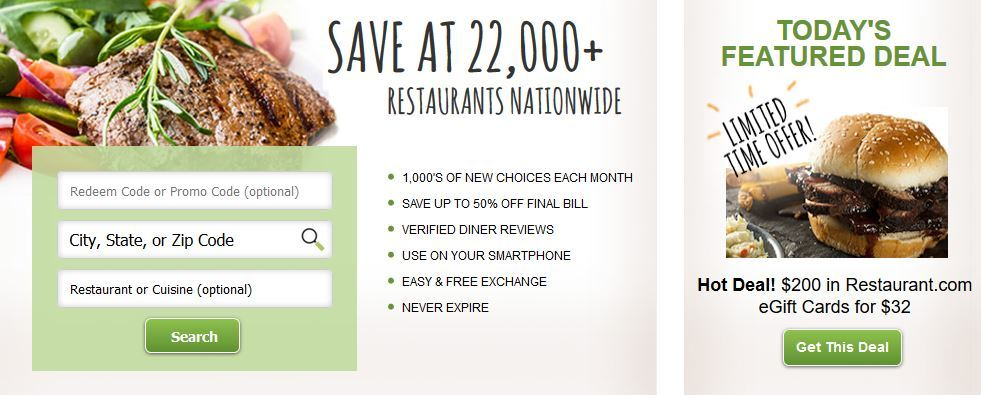 Save at Local Restaurants with Restaurant.com